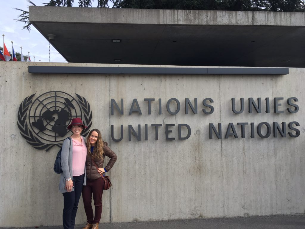 in front of the United Nations European Headquarters